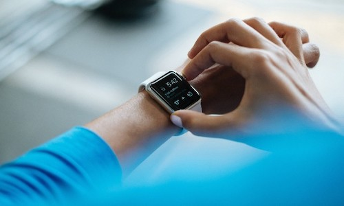 Accessing a smart watch's functions.
